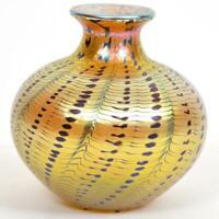 EARLY LUNDBERG STUDIO IRIDESCENT AURENE ART GLASS VASE - SIGNED - DATED 1977