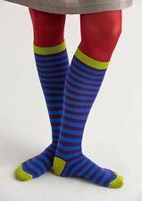 BNWT *Gudrun Sjoden* organic stripy cotton blue knee socks L/XL