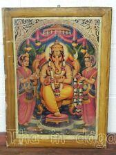 Ganesh Vintage Chromolithographie Oleograph Print 42x57cm Inde