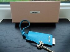 100% Authentic PRADA/Miu Miu Blue Leather Lipstick Mirror Keyring / Bag Charm BN