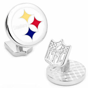 Pittsburgh STEELERS NFL Palladium CUFFLINKS NEW in Gift Box 60% off!