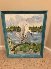 Great White Heron Egret Bird Florida Everglades Stretched Large Oil Painting