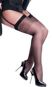 PLUS SIZE Stockings for Garter Belt 3 Colors Sheer Hosiery 20 Denier Katia
