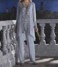 Mother Of Bride Groom Women's Wedding beaded dress 3PC duster pant suit size L