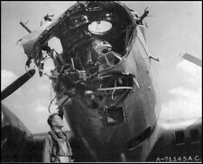 WWII B&W Photo USAAF  B-17 Bomber Flak Damaged  Nose WW2 World War Two /5057