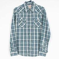 Levis Mens Pearl Snap Western Shirt Size Medium Blue Plaid Cotton Blend L/S S783