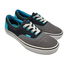 Vans Two Tone Skater Shoes Womens Size 7.5 Blue Black Gray Lace Up Sneakers