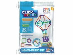 Grafix Click Sticks Imagi-Build Kit 50 Pieces - STEM - Construction Toy - New