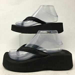 Reef Womens 9 Slip On Thong Platform Wedge Flip Flop Casual Comfort Sandal Black