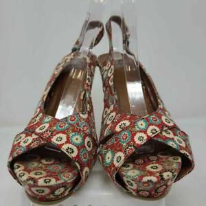 Miss Me Womens Espadrilles Wedge Heels Shoes Multicolor Red Floral Hook & Loop 6