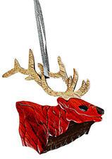 Elk Head - Double-sided Wood Intarsia Christmas Tree Ornament - Mammal theme