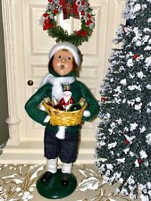 Byers' Choice Caroler Boy with Basket of Christmas Glass Ornaments 🎄