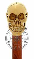 Vintage Skull Head Brass Handle Brown Wooden Walking Stick Cane Antique Gift