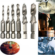 6PCS Combination Drill Tap M3-M10 HSS Drill Tap Countersink Deburr Set Metric