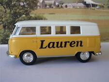 PERSONALISED NAME Yellow VW Camper Van Bus Girls Toy Model Car Birthday Present