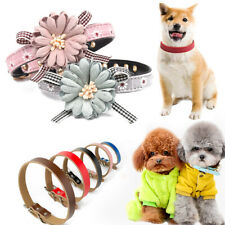 Adjustable Leather Pet Dog Cat Puppy Necklace Neck Collar Cute Flower Bow Tie UK