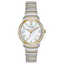 Bulova Women's Diamond Accents Quartz Silver and Gold Tone 28mm Watch 98R231