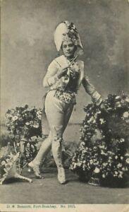 india, Unknown Woman Strange Costume (1900s) D.N. Bennett Fort-Bombay Postcard