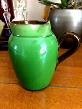 "Vintage 4.25"" Earthenware Jug Creamer High Gloss Green Glaze on Brown Pinch Top"