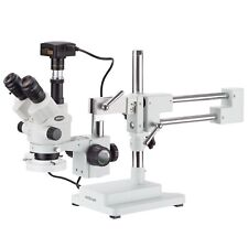 3.5X-90X Simul-Focal Stereo Boom Stand Microscope + Fluorescent Light + 14MP USB