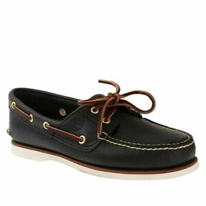 Timberland Mens 2 Eye Classic Handsewn Leather Boat Shoes Navy Blue Style 74036