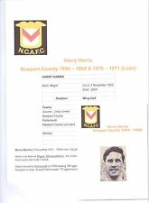 HARRY HARRIS NEWPORT COUNTY 1954-58 & 1970-71 (ON LOAN) RARE ORIG SIGNED PICTURE