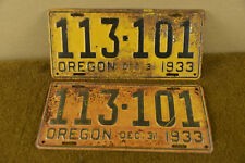 1933 Oregon License Plate Pair Ford Dodge Plymouth Chrysler Chevrolet Buick