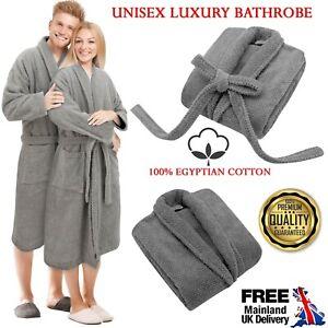 UNISEX BATH ROBE 100% EGYPTIAN COTTON DRESSING GOWN TERRY TOWELLING MEN WOMEN UK