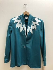1849 Authentic Ranchwear Teal Blue White Rhinestone Show Jacket Size L NWT