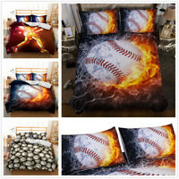 3D Kids Bedding Set Baseball Flame Duvet Cover Comforter/Quilt Cover Pillow Case
