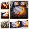 3D Kids Bedding Set Baseball Flame Duvet Cover Comforter/Quilt Cover Pillow Case