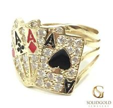 NEW 10K YELLOW GOLD 19 MM WIDE 4 ACES POKER CARDS HIP HOP STYLE RING R3041