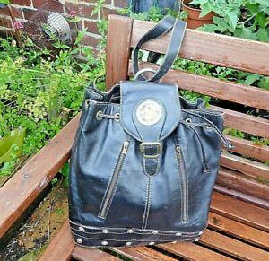 Vintage Large Black Leather single strap Rucksack Backpack Paris brass lion