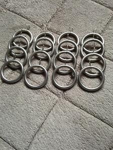 16 Silver Metal Curtain Rings