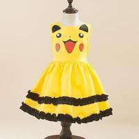 Hot Pokemon Go Pikachu Princess Dress Girls clothing Cosplay Gown Pocket Monster