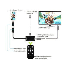 1X Black MHL Micro USB to HDMI A A/V TV Adapter HDTV Short Cable for Samsung New