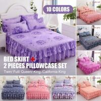Bed Skirt Brushed Dust Ruffle Pillowcase Bedspread Bedding Valance Cover Sheet