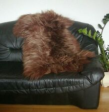 langhaarige Heidschnuckenfell braun gefärbt, ca. 115x75 cm, Haarlänge ca. 15 cm