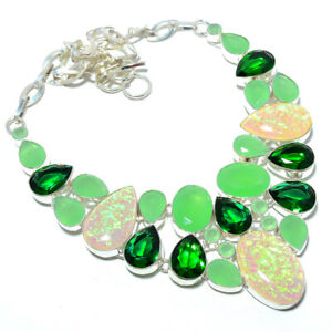 """Tiplet Fire Opal & Chalcedony 925 Sterling Silver Jewelry Necklace 17.99"""" S1995"""