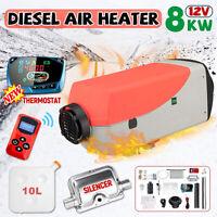 8KW 12V 4-Key Remote Control Diesel Air Heater LCD Display Kit For Caravan Boat
