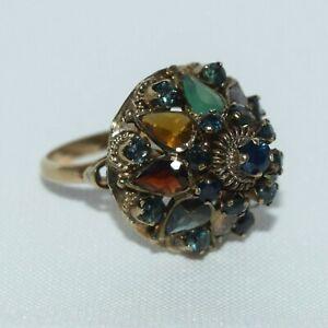 10k Yellow Gold Thai Princess Harem Multi Gemstones Dome Ring 3.5 ct  ~ 5.54gm