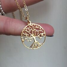 DESIGNER 24k GOLD VERMEIL TREE OF LIFE NECKLACE PENDANT HANDMADE JEWELLERY GIFT