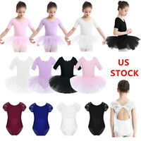 US Kid Girls Ballet Tutu Dress Gymnastics Leotard Cutout Dancewear Lace Jumpsuit