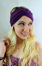 Turban HeadBand Cotton Jersey Twist Purple Yoga Wide Head Wrap High quality