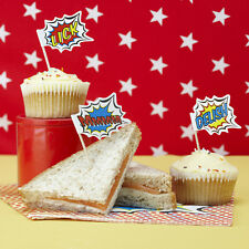 Food Flags / Cupcake Sticks / Cake Toppers - Pop Art Superhero Birthday Party