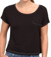 UGG Sleepwear Women's Ella Short Sleeve Soft Knot Top Scoop Neck Black Medium