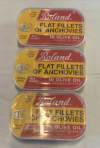 Roland Foods Flat Anchovy Packed In Olive Oil Wild Caught Spain 3pcs Lot Expired