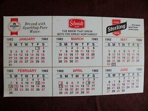 1982 Heileman Beer Calendar Old Style Grain Belt Blatz Sterling Schmidt Drewerys