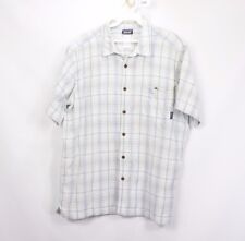 Patagonia Mens Large Organic Cotton Short Sleeve Button Front Hiking Shirt Plaid