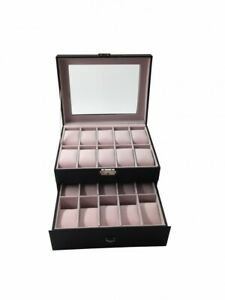 """Uhren Aufbewahrung Uhrenbox Uhrenkoffer Uhrenkasten """"Basel"""" 20 Uhren, schwarz"""